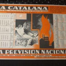 Coleccionismo Papel secante: SEGUROS LA CÁTALA 1936. PAPEL SECANTE. Lote 296892218