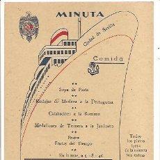 Coleccionismo Papel Varios: MINUTA (MENÚ) CIUDAD DE SEVILLA COMPAÑÍA TRASMEDITERRÁNEA. Lote 289567383