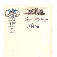 Coleccionismo Papel Varios: MENÚ CASTELL DEL REMEY. Lote 32225349