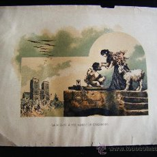 Altri oggetti di carta: LITOGRAFIA COLOR LA ACERCÓ A LOS LABIOS DE CUASIMODO, 30 X 21 CM.. Lote 32898099