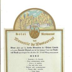 Coleccionismo Papel Varios: MENÚ TROQUELADO HOTEL RESTAURANT DEL MONESTIR DE MONTSERRAT – AÑO 1935. Lote 289567538