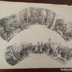 Coleccionismo Papel Varios: LITOGRAFIA PARA ABANICO , PASCUAL Y ABAD , VALENCIA , SIGLO XIX. Lote 84292848