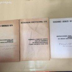 Coleccionismo Papel Varios: ELECCIONES LOCALES-GENERALES.REFERENDUM CONSTITUCIONAL.INSTRUCCIONES Y NORMAS MESAS ELECTORALES 1979. Lote 85036375