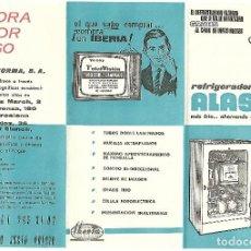Coleccionismo Papel Varios: TRIPTICO PUBLICITARIO ORIGINAL DE 1963 CON 3 ANUNCIOS DE ELECTRO NORMA, IBERIA Y REFRIGERADOR ALASKA. Lote 87128740