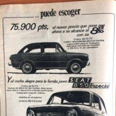 Coleccionismo Papel Varios: PUBLICIDAD AUTOMÓVIL SEAT 850 ESPECIAL DE 1968. Lote 88889918