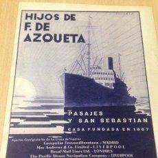 Coleccionismo Papel Varios: ANTIGUA PUBLICIDAD COMPAÑÍA VAPORES HIJOS AZQUETA PASAJES SAN SEBASTIAN. Lote 89001436