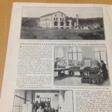 Coleccionismo Papel Varios: ANTIGUA PUBLICIDAD CASA MONS HENRI GARNIER SAN SEBASTIAN. Lote 89001624