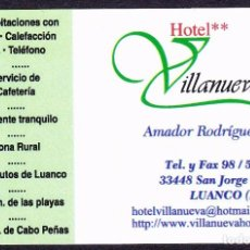 Coleccionismo Papel Varios - TARJETA HOTEL VILLANUEVA (LUANCO-ASTURIAS) - 89392636