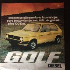 Coleccionismo Papel Varios: PUBLICIDAD AUTOMÓVIL VW VOLKSWAGEN GOLF DIÉSEL. Lote 89471540