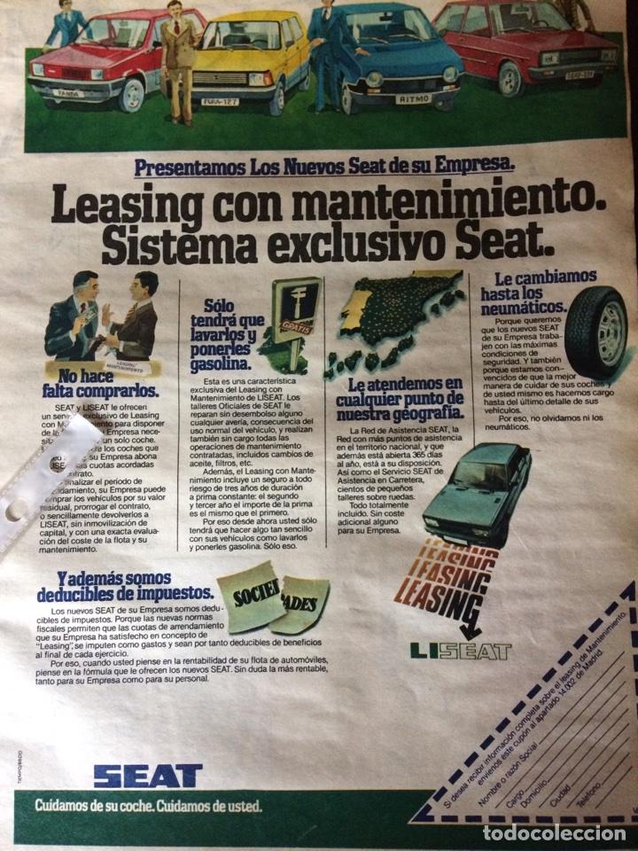 PUBLICIDAD AUTOMÓVIL SEAT PANDA FURA 127 RITMO 131 (Coleccionismo en Papel - Varios)
