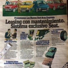 Coleccionismo Papel Varios: PUBLICIDAD AUTOMÓVIL SEAT PANDA FURA 127 RITMO 131. Lote 92824860