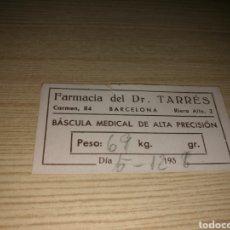 Coleccionismo Papel Varios: TARJETA DE PESO DE BÁSCULA DE LA FARMACIA DEL DOCTOR TARRÈS DE BARCELONA. 1938. GUERRA CIVIL. Lote 90197130