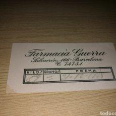 Coleccionismo Papel Varios: TARJETA DE PESO DE BÁSCULA DE LA FARMACIA GUERRA DE BARCELONA. 1938. GUERRA CIVIL. Lote 90197196