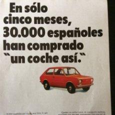 Coleccionismo Papel Varios: PUBLICIDAD AUTOMÓVIL SEAT 133. Lote 92028892
