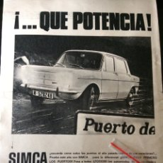 Coleccionismo Papel Varios: PUBLICIDAD AUTOMÓVIL SIMCA DE BARREIROS 1967. Lote 92034504