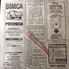 Coleccionismo Papel Varios: PUBLICIDAD AUTOMÓVIL SIMCA BARREIROS DE 1967. Lote 92034933