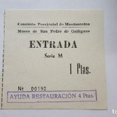 Coleccionismo Papel Varios: TICKET DE ENTRADA AL MUSEO DE SAN PEDRO DE GALLIGANS AÑOS 60-70 Nº TICKET 190. Lote 92785180