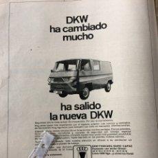 Coleccionismo Papel Varios: PUBLICIDAD FURGONETA DKW IMOSA DE 1969. Lote 94120824