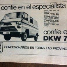 Coleccionismo Papel Varios: PUBLICIDAD FURGONETA DKW DE 1971. Lote 94309371