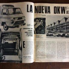 Coleccionismo Papel Varios: REPORTAJE FURGONETA DKW F 1000 DE IMOSA DE 1970. Lote 94309511