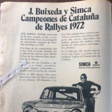 Coleccionismo Papel Varios: PUBLICIDAD AUTOMÓVIL SIMCA 1000 CHRYSLER DE 1972. Lote 96444258