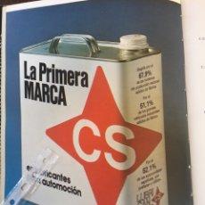 Coleccionismo Papel Varios: PUBLICIDAD ACEITE PARA AUTOMÓVIL CS DE 1980. Lote 96566251