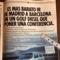 Coleccionismo Papel Varios: PUBLICIDAD AUTOMÓVIL VW VOLKSWAGEN GOLF DE 1982. Lote 96864772