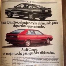Coleccionismo Papel Varios: PUBLICIDAD AUTOMÓVIL AUDI QUATTRO COUPE DE 1982. Lote 96867730