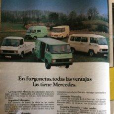 Coleccionismo Papel Varios: PUBLICIDAD FURGONETA MERCEDES BENZ DE 1982. Lote 96893760