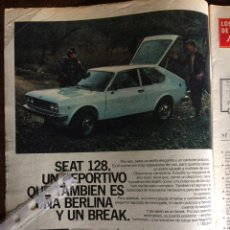 Coleccionismo Papel Varios: PUBLICIDAD AUTOMÓVIL SEAT 128. Lote 97127974