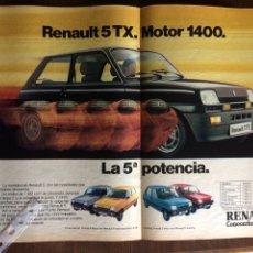 Coleccionismo Papel Varios: PUBLICIDAD AUTOMÓVIL RENAULT 5 TX. Lote 97135995