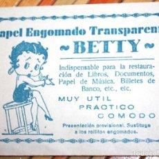 Coleccionismo Papel Varios: SOBRE DE PAPEL ENGOMADO BETTY. CONTIENE TIRAS DE PAPEL ENGOMADO ORIGINALES. PUBLICIDAD. Lote 97405599