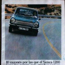 Coleccionismo Papel Varios: PUBLICIDAD AUTOMÓVIL SIMCA 1200 CHRYSLER ESPAÑA. Lote 97800636