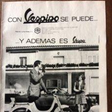 Coleccionismo Papel Varios: PUBLICIDAD CICLOMOTOR VESPINO DE VESPA DE 1969. Lote 97870011