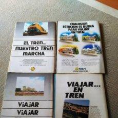 Coleccionismo Papel Varios: LOTE 4 HOJAS DE PUBLICIDAD DE RENFE - TREN - 1978. Lote 98080395