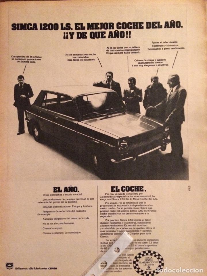 PUBLICIDAD AUTOMÓVIL SIMCA 1200 DE 1975 (Coleccionismo en Papel - Varios)