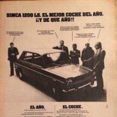 Coleccionismo Papel Varios: PUBLICIDAD AUTOMÓVIL SIMCA 1200 DE 1975. Lote 98713638