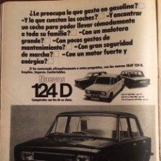 Coleccionismo Papel Varios: PUBLICIDAD AUTOMÓVIL SEAT 124 DE 1975. Lote 98715096
