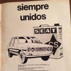 Coleccionismo Papel Varios: PUBLICIDAD ACEITE CS AUTOMÓVIL SEAT DE 1976. Lote 98717952