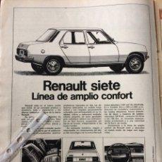 Coleccionismo Papel Varios: PUBLICIDAD AUTOMÓVIL RENAULT 7 DE 1975. Lote 98793479