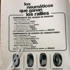 Coleccionismo Papel Varios: PUBLICIDAD NEUMÁTICOS PIRELLI DE 1975. Lote 98793655