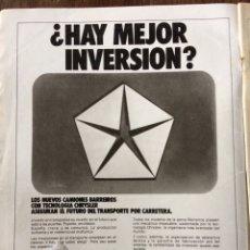 Coleccionismo Papel Varios: PUBLICIDAD CAMIÓN BARREIROS CHRYSLER DE 1975. Lote 98794799