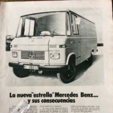 Coleccionismo Papel Varios: PUBLICIDAD FURGONETA MERCEDES BENZ DE 1971. Lote 98795087