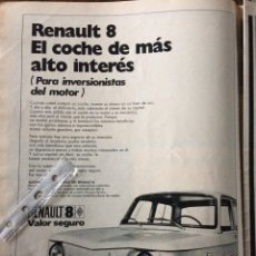 Coleccionismo Papel Varios: PUBLICIDAD AUTOMÓVIL RENAULT 8 DE 1971. Lote 98795202