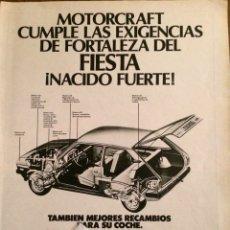 Coleccionismo Papel Varios: PUBLICIDAD ACEITE MOTORCRAFT Y FORD FIESTA DE 1976. Lote 98800696