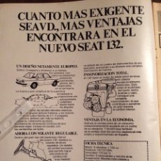 Coleccionismo Papel Varios: PUBLICIDAD AUTOMÓVIL SEAT 132 DE 1975. Lote 98801564