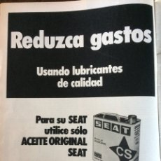 Coleccionismo Papel Varios: PUBLICIDAD ACEITE CS Y AUTOMÓVIL SEAT DE 1977. Lote 98877011