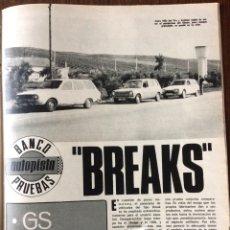 Coleccionismo Papel Varios: REPORTAJE AUTOMÓVIL RENAULT 12 SIMCA 1200 CITROEN GS DE 1975. Lote 99277019