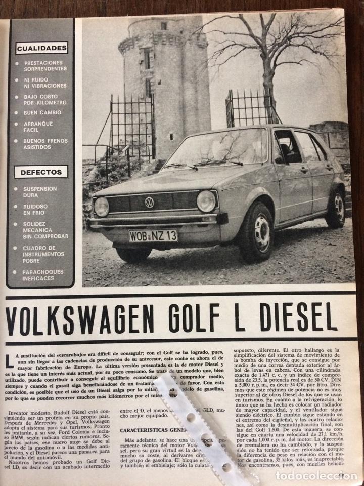 REPORTAJE AUTOMÓVIL VW VOLKSWAGEN GOLF L DIÉSEL DE 1977 (Coleccionismo en Papel - Varios)