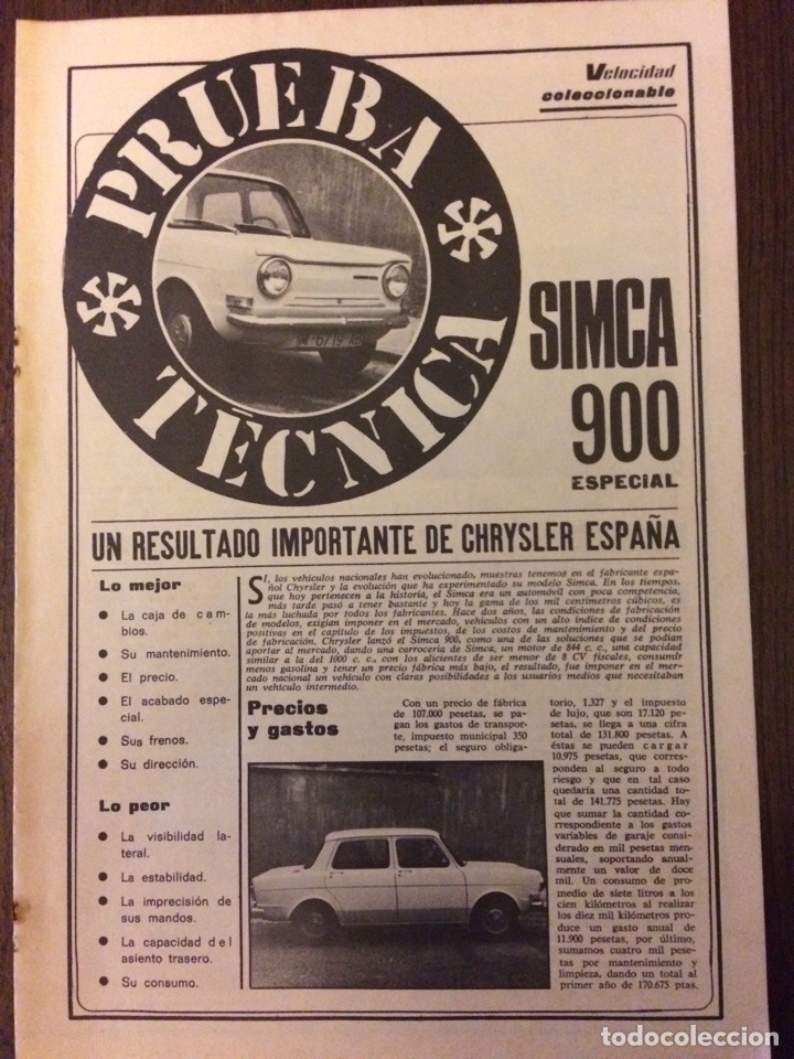 REPORTAJE AUTOMÓVIL SIMCA 900 DE 1975 (Coleccionismo en Papel - Varios)